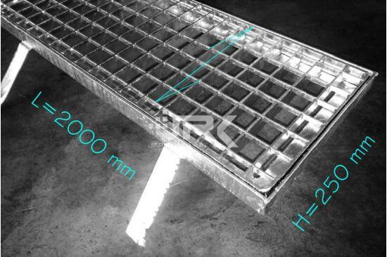Csatornarács 250x2000 mm-es, beépíthető kerettel
