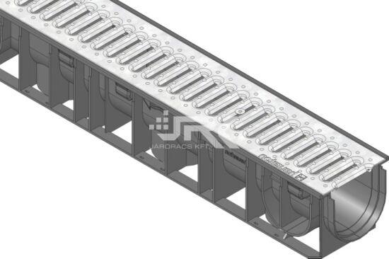 1000 mm-es műanyag folyóka horganyzott acélráccsal  (RECYFIX®Standart 100)
